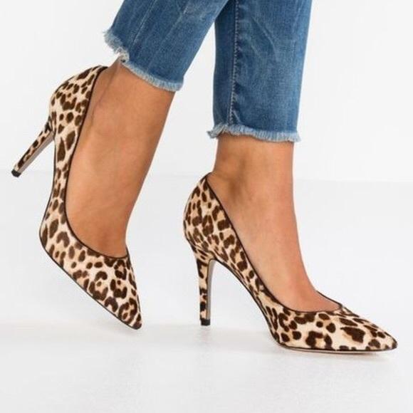 NEW Sam Edelman Leopard Cow Hair Stiletto Heels